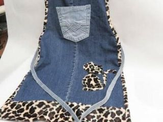 Denim and leopard Cat Apron  handmade