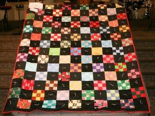 Alternating 9 patches   squares  hand tied