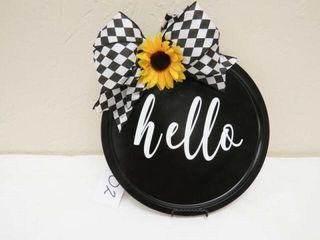 Decorative plate   Hello w  Sunflower and Bow