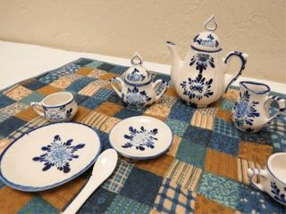 Blue Tea Set and Quilt
