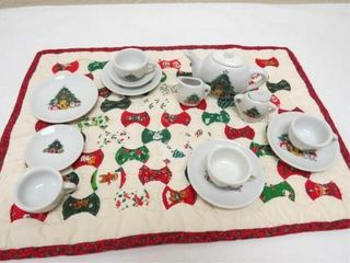 Vintage Miniature Christmas Quilt and tea set