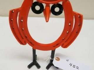 Metal work Horseshoe Owl   Orange