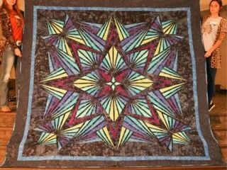 Crystal Blue Kaleidoscope Star  hand quilted