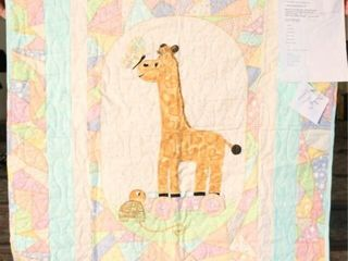 Giraffe baby blanket  machine quilted