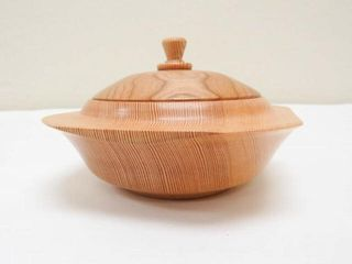 Fir and Cherry Turned Bowl with lid