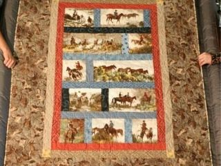 Wild Horse Roundup  machine quilted