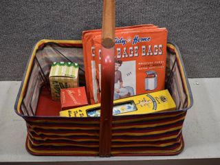 lot of 7 Vintage Foldable Picnic Basket w Garbage Bags  Waxed Paper  Vintage Boxes   Tidy Home Garbage Bags  KVP Paper  Harvard   Sclater s Box   In original packages