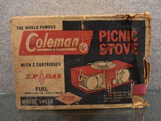 Vintage Coleman Pink Picnic Stove Model 5402A   With Original Box   lP Gas