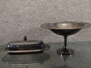 lot of 2 Vintage WM  A  Rogers Compote   Oneida Silversmiths Butter Dish   Butter dish has glass insert