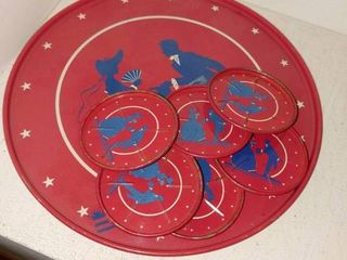lot of 7 Vintage Cocktail Tray   6 Coasters   Red White   Blue   11