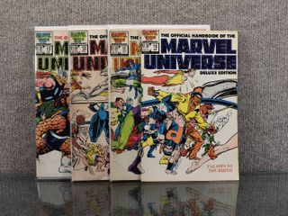 lot of 4 Marvel Comics  Official Handbook of the Marvel Universe Deluxe Edition  1985 1988   10   13