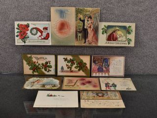 lot of 12 Antique Christmas Postcards   1910  1911  1949