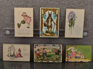 lot of 6 Antique Easter Postcards   1911
