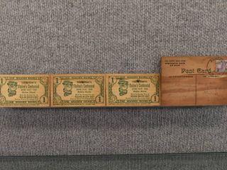 lot of 4 Vintage Wood Postcard   Wooden Nickel   J E  Stanley   1933
