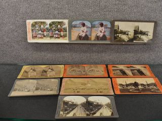 lot of 10 Vintage Stereograph Cards   Geo Barker Photographer