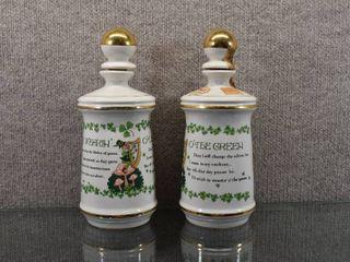 lot of 2 Vintage Old Fitzgerald leprechaun Decanter Bottle 1968   Weller Distillery