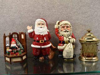 lot of 4 Vintage Three Christmas Music Boxes   Jar   Santas 10