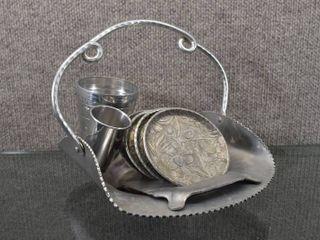 lot of 8 Vintage Aluminum Basket  Coaster Set   Cups   Basket 8  One Cup Measuring cup   shot Glass