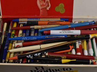 large lot of Vintage Advertising Pens in Cigar Box