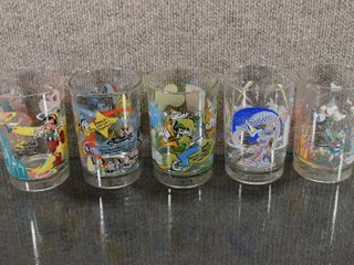 lot of 5 Vintage Walt Disney Anniversary Glasses   25th   100th Anniversary   Features Cartoons   5  Tall