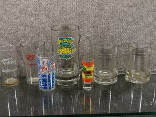 lot of 7 Various Glasses   Mugs   National Football Conference  Budweiser  Over the Hill  Cozumel