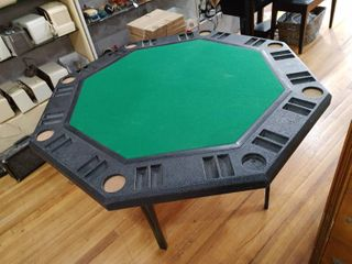 8-Sided Poker Table | Felt and Heavy Duty Plastic on Top, Foldable Metal Legs | 48