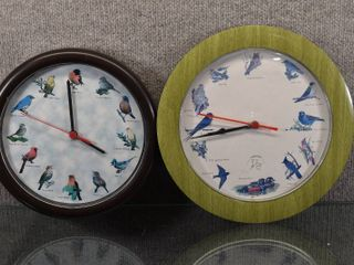 lot of 2 Vintage Battery Operated Bird Watchers Clock   National Audubon Society   Both clocks work    10    11