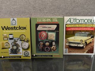 lot of 3 Collectors Books for Clocks   Collectible Automobiles   Schiffer     Telechron   GE Clocks   Westclox Id