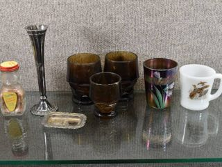 lot of 8 Vintage Home Decor Items   Bear Bottle  Four Glasses  Pheasant Cup   Silver Plate Pieces   Domino   FireKing