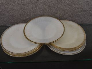 lot of 7 Vintage Fire King Oven Ware Milk Dinner Plates   9