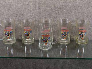 lot of 6 Vintage Clear Handled Beer Mugs   20oz