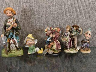lot of 6 Vintage Porcelain Figurines Kids  Hunter   Dwarf   6    9
