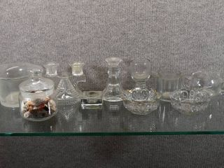 lot of 10 Vintage Pattern   Cut Glass Mixed lot Candle Holders  Bowls   1    6