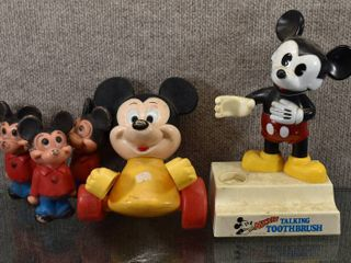 lot of 5 Vintage Illco Mickey Mouse Toy  Toothbrush   Three Figures   Figures marked Walt Disney   5    10