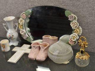 lot of 7 Vintage Dresser Set  Powder Jar  Perfume Bottle  Candle  Vase And Wall Hanging   love Birds on powder jar and vase