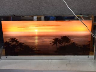 Beautiful lighted Moving Waves Beach Sunset Scenery Mirror   19  x 38