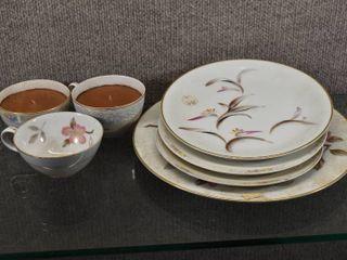 lot of 6 Vintage Noritake Various Pattern Plate   Tea cups   8    11