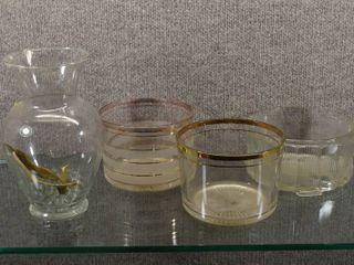 lot of 4 Vintage Glass Crystal Decor Items   Ice Bucket  lamp Fixture   Vase