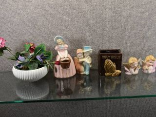 lot of 6 Vintage Figurines and Decor Items   USA Pink Maiden  Angels   Flower Pot   Bible Vase   McCoy   Nancy Pew Giftwares   Maiden Is 8