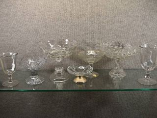 lot of 7 Vintage Clear   Cut Glass Footed Compotes   Weighted Sterling Silver Base   Total Weight  Of Base    4 4 oz   2 5  to 8  Tall