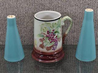 lot of 3 Vintage Set of Turquoise Salt   Pepper   China Mug