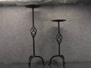 Set of 2 Black Iron Candle Holders