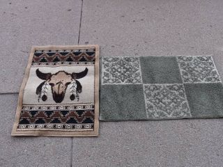 lot of 2 Area Throw Rugs Southwest Print   Green   21 x30