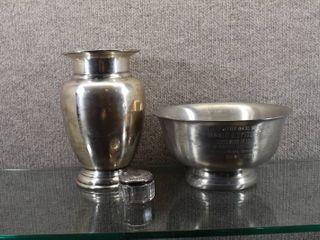 lot of 3 Vintage Restoration Hardware Vase  Bowl   Trinket Box   8 182  4 1 2  x 81 2  2