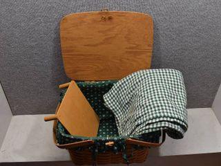 lot of 3 Vintage longaberger Picnic Basket Inner lining w Riser Table   Throw Blanket   12  x 17