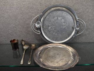 lot of 7 Vintage International Silver  F B  Roger Silver Serving Trays   Silverware   Aluminum Trays   ladle  Spoons   Serving Trays   Trays 12    17