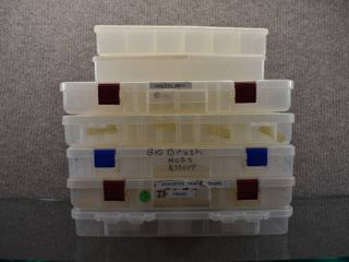 lot of 7 Utility Storages Boxes   Prolatch  Plano   Individual Trays   Compartments   9  x 14    7  x 11