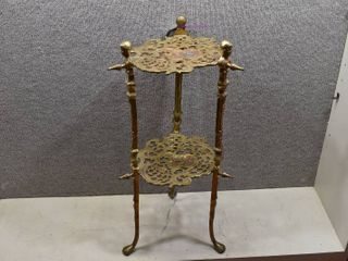 Vintage Small Brass End Table   12 5  Wide x 24  Tall