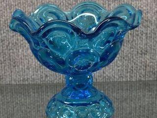 Vintage Moon   Stars Blue Compote Vase   5  Tall