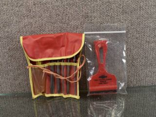 lot of 2 Vintage Chevrolet Advertising Tools   Screwdriver Set   Squeegee